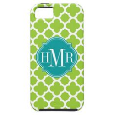 Quatrefoil Green and White Pattern Monogram iPhone 5 Covers