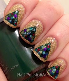 Colors: China Glaze Ultimate Holiday, Orly Wandering Vine, Orly Meet Me Under the Mistletoe, Color Club Holiday Splendor, Sephora by OPI Leaf Him at the Altar, Color Club Gingerbread, China Glaze Ruby Pumps, Barielle Falling Star, Ulta Mint Condition, Wet n Wild Buffy the Violet Slayer