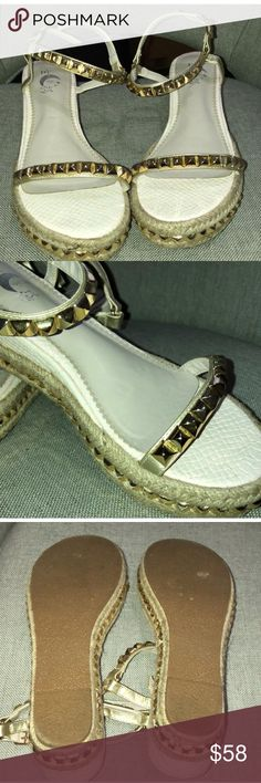 CL cataclou inspired wedge sandals Worn once indoor. Beige & Gold color. No brand. Beautiful pair. No size ok shoes but fits US size 7. Shoes Wedges