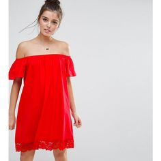 ASOS PETITE Off Shoulder Mini Dress with Lace Hem (36 AUD) ❤ liked on Polyvore featuring dresses, petite, red, red mini dress, lace midi dress, off-shoulder dresses, short red dress and off-the-shoulder lace dresses