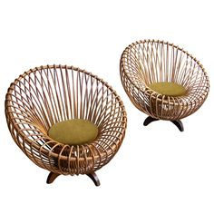 Italian rattan armchairs 1950's, 1st dibs