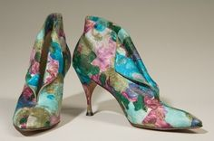 Delman Cocktail Shoes - c. 1958 - Multi-color floral print with gold brocade - On loan from Delman Archive - @~ Mlle