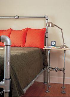 Pipe headboard and nightstand