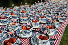 Strawberries, Union Jacks and Willow Pattern teacups, does it get much more British than this?