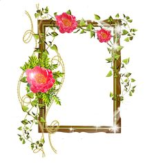 Shining Transparent Frame with Flowers