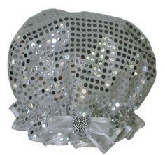 Ladies Shower Cap - Silver Sequin Shower Cap, Organza Ribbon, Silver Sequin, Decorative Bowls, Sparkle, Sequins, Glamour, Ceiling Lights, Hairdos