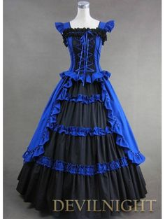 Blue And Black Victorian Dress