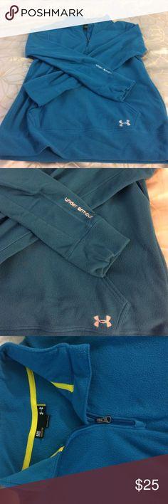 Under armour 3/4 zip fleece teal Fuzzy fleece Under Armour Sweaters Crew & Scoop Necks
