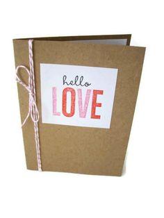 handmade love card hello love i love you card by JDooreCreations, $3.00