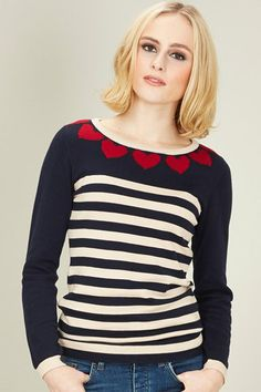 AW13 Heart To Heart Sweater Navy/Cream/Red - Sugarhill Boutique