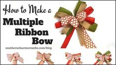 Save those ribbon scraps and make these easy multiple ribbon bows. Diy Bow, Diy Ribbon, Ribbon Crafts, Ribbon Bows, Ribbon Hair, Hair Bows, Ribbon On Christmas Tree, Christmas Ribbon, Christmas Ideas