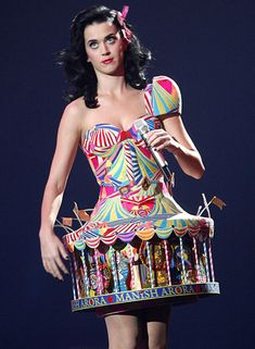 Katy Perry's fairground carousel MTV awards dress.  ---  Please check out my music, fashion and blog here: www.LindaHarrisonMusic.com or www.facebook.com/LindaHarrisonMusic