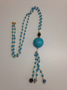 Women Necklace Jewelry Ethnic Rosario Turquoise Gold by ArtArgo