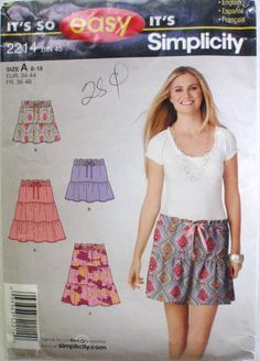 Simplicity 2214 Sewing Pattern - Easy Tiered Drawstring Skirt- Sizes…