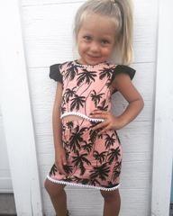 Palm Tree crop/skirt set