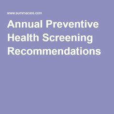 Annual Preventive Health Screening Recommendations