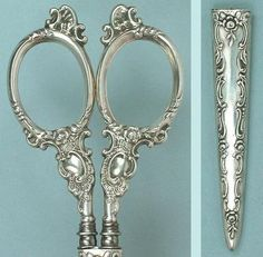 Gorgeous Antique Sterling Silver Sewing Scissors in Sheath Circa 1890 | eBay