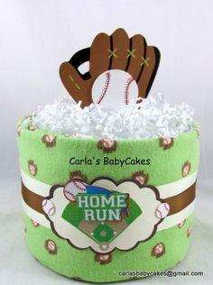 Baseball diaper cake | Mini diaper cake | Baby shower gift | Green diaper cake | Baby shower decoration | Boy diaper cake | New mom gift by MsCarlasBabyCakes on Etsy
