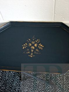 """""""One Dark Mid Century Evening"""" Collection by Taylored Revival 2016 #annie #sloan #chalk #paint #napoleonic #blue #graphite #tray #stenciling #gold #gilding #wax"""