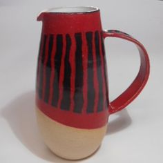Red and Black Striped Stoneware Jug Lesley McShea Kitchen Accessories, Tea Towels, Black Stripes, Stoneware, Tea Cups, Mugs, Tableware, Red, Kitchen Fixtures