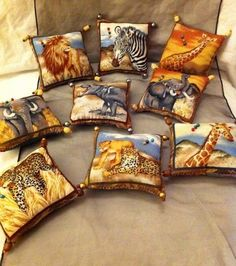 Cotton printed fabric filled with padding. Reverse side is plain brown fabric. A handly item for your craft room. Bedroom Themes, Bedrooms, Chicken Pattern, African Animals, African Style, Pin Cushions, Printing On Fabric, Etsy Shop, Throw Pillows
