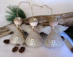 Christmas Ornament burlap angel set of 3 por Mydaisy2000 en Etsy