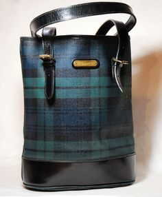 843452a98a66 Vintage Classic Polo Ralph Lauren Blackwatch Plaid tartan Leather Tote Purse  With Adjustable Strap