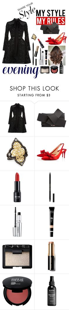 """My Style: Cocktail Party"" by triplee2017 ❤ liked on Polyvore featuring Elie Saab, Ted Baker, Armenta, Christian Louboutin, Guerlain, Clinique, MAKE UP FOR EVER, NARS Cosmetics, Bobbi Brown Cosmetics and NYX"