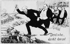 [ ], 'Deutsche, denkt daran!', prentbriefkaart (Duitsland, ca. 1920) Antisemitische briefkaart. Vertaling titel: 'Duitsers, vergeet dit niet!'