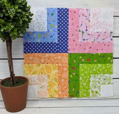 Moda Block Heads 3 - Block 38 Fractured Rainbow 4'', 6'', 8'' & 12'' Quilt Patterns Free, Pattern Blocks, Fabric Patterns, Block Patterns, Chart Tool, Rainbow Blocks, Rainbow Writing, Block Head, Country Quilts