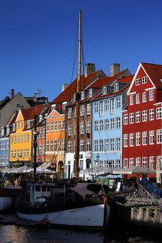 Nyhavn harbour, Copenhagen, Denmark My grandfather Nils Pedersen was from Denmark;  must go there some day.