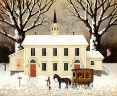 A Pie For The Parson ~ Charles Wysocki- snow blown unto tree