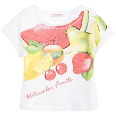 Girls white t-shirt byLaura Biagiotti Dolls, made from soft slub cotton jersey. It has a colourful fruit print on the front decorated with pretty red, gold and green diamanté. It has short-sleeved and has a wide round neck line with a rolled trim. A pretty top ideal to wear with shorts, trousers or skirt.