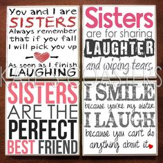 Set of 4 sister quotes ceramic tile coasters by KatesCoasters