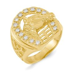 14k Yellow Gold A Diamond Men's Ring – Goldia.com