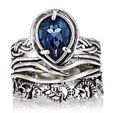 Or-Paz Teardrop Gemstone Band Ring Sterling Silver
