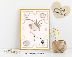 CANCER Astrology Wall Art,Horoscope Cards, Zodiac Print, Tarot Cards, Star Sign,Digital Download, Astrology Print,Printable,Constellation