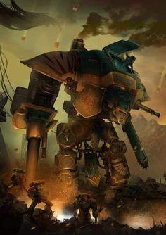 26 Trendy Ideas For Science Fiction Door Warhammer Warhammer 40k Art, Warhammer Models, Warhammer Fantasy, Dark Fantasy, Sci Fi Fantasy, Imperial Knight, Martial, Knight Art, Geek Art