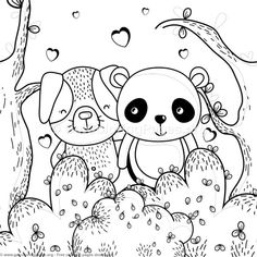 Panda And Dog Forest Animals Coloring Pages Free Instant Download Coloringbook Coloringpages