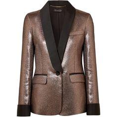 Rachel Zoe Toni grosgrain-trimmed metallic jacquard blazer ($745) ❤ liked on Polyvore featuring outerwear, jackets, blazers, bronze, rachel zoe blazer, jacquard jacket, brown blazer jacket, loose jacket and rachel zoe
