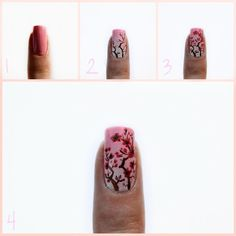 Cherry Blossoms Nail Art Tutorial    1. Prep your nails. Then paint on at least two coats of a base colour (I used RevlonPink Lingerie).    2. Next, paint on the tree branches. ** I sponged on and faded out some white on top of the pink. This is optional. You don't have to do this.    3. Paint in the blossoms in a darker pink colour.    4. Finally, shade and highlight the blossoms and add in the centers with black. Clear coat.    #kasnailsandsuch