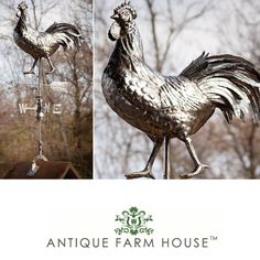 Love this guy! #Rooster #Weathervane come check him out http://www.antiquefarmhouse.com/current-sale-events/architectural-decor/stainless-steel-rooster-weathervane.html