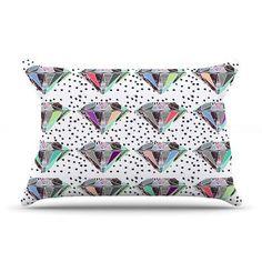 KESS InHouse Polka Dot Diamond Pillow Case Size: Standard