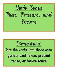 Verb Tense word sort- past, present, future tense verbs