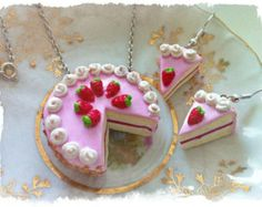 Polymer clay Cake pendant & earrings