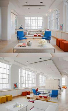 Beautiful spring colours combined in a white and light space - looks like they're based on the spring collection of XLBoom's ball chairs : available in Sky Blue, Sunflower (dark yellow) and Sunrise (dark orange) and plenty of other colours @ www.smartlivingobjects.com