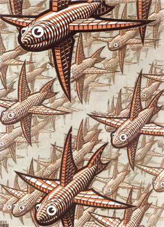 Escher- Depth- October Wood engraving and woodcut in brown-red, grey-green and dark brown printed from three blocks. Mc Escher, Escher Kunst, Escher Art, Escher Drawings, Art Illustration Vintage, Illustrations, Dutch Artists, Art Graphique, Fine Art