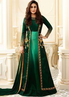 Designer Salwar Kameez - Bollywood Party Wear Green Abaya Style Salwar Suit with Jacket Online USA,UK Indian Gowns, Indian Attire, Pakistani Dresses, Indian Outfits, Indian Wear, Designer Anarkali, Designer Salwar Kameez, Abaya Fashion, Indian Fashion