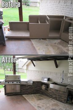 Wellington Photo Gallery: Faux Panels Design Ideas and Photos I really really want an outdoor kitchen here's hoping Mike does too Backyard Kitchen, Outdoor Kitchen Design, Backyard Patio, Outdoor Rooms, Outdoor Living, Outdoor Kitchens, Outdoor Patios, Gazebos, Faux Panels