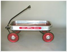 Photo 1920s Blue Streak Coaster Wagon Toledo Metal Wheel